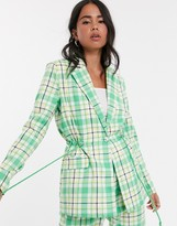 Kaffe check suit blazer with waist detail