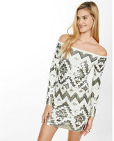 Express off the shoulder deco sequined dress