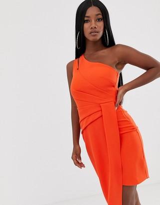 Lipsy one shoulder tailored midi dress in orange