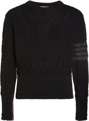 Thom Browne Merino Wool Aran Cable Knit Sweater