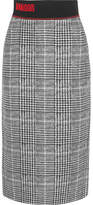 Fendi Jersey-trimmed Checked Wool And Silk-blend Midi Skirt - Gray