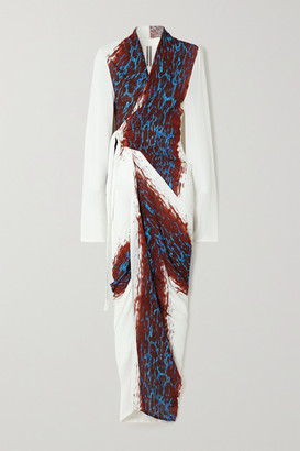 Rick Owens Printed Crepe Maxi Wrap Dress - White