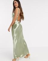 ASOS DESIGN scoop back bias cut satin maxi dress in Milky Khaki