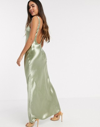 Asos DESIGN scoop back bias cut satin maxi dress in Milky Khaki