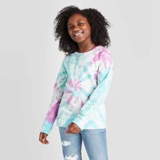 Cat & Jack Girls' Tie-Dye Pullover Sweatshirt - Cat & JackTM Blue/Purple