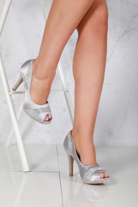 Miss Diva Solange Diamante Peep Toe Shoes in Silver