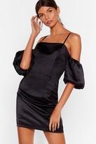 Nasty Gal Womens Sleeve Some Room Satin Cold Shoulder Dress - black - 4