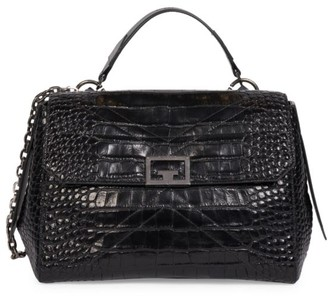 Givenchy Small ID Croc-Embossed Leather Crossbody Bag