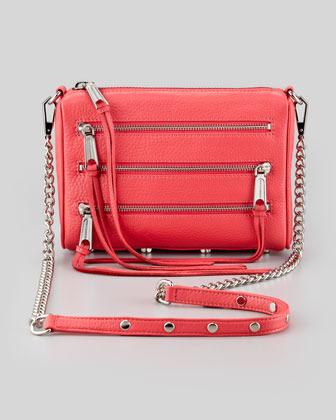 Rebecca Minkoff Zip-Front Leather Crossbody Bag, Berry