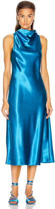 Sies Marjan Andy Glossy Satin Cowl Neck Bias Dress in Sapphire Blue | FWRD