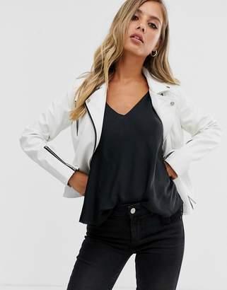 Lipsy pu jacket in ecru-Stone