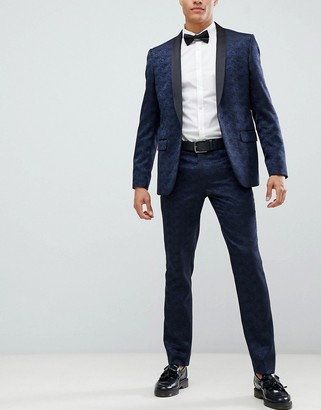 Farah Smart Keeling floral slim fit suit trousers-Navy