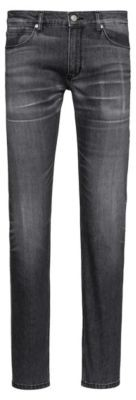 HUGO Slim-fit jeans in black comfort-stretch denim