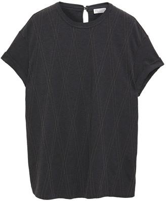 Brunello Cucinelli Bead-embellished Melange Cotton-blend Jersey T-shirt