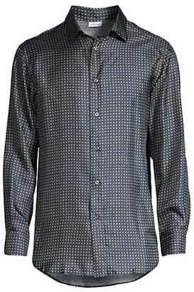 Brioni Dot Print Silk-Blend Sport Shirt