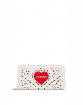 Love Moschino Wallet Heart Embroidery Woman White Size U It - (one Size Us)