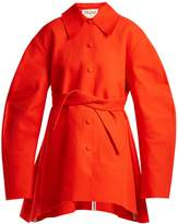 Awake Raw-edge tie-fastening cotton coat