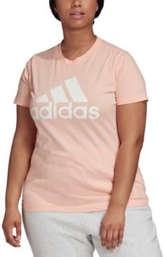 adidas Women's Plus Size Cotton Badge of Sport Logo T-Shirt