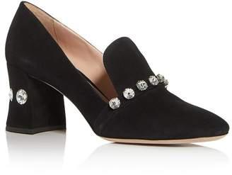 Miu Miu Women's Calzature Donna Embellished Block-Heel Loafers