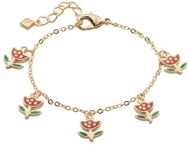 Junior Jewels Brass Tulip Charm Bracelet - Kids