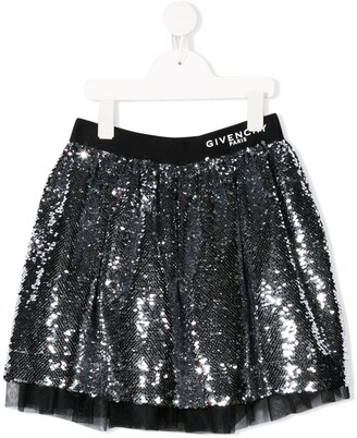 Givenchy Kids Sequin-Embroidered Flared Skirt