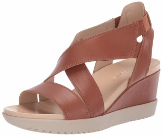 Aerosoles Women's Bloom Wedge Sandal - Opened Toed Shoe with Memory Foam Footbed (9M - Dk Tan Leather)