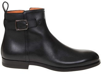 Santoni Ankle Boot In Leather And Black Color