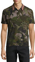 Valentino Tropical-Print Polo Shirt, Green