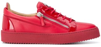 Giuseppe Zanotti Side-Zip Low-Top Leather Trainers