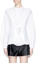 3.1 Phillip Lim Embellished lace-up front cotton poplin blouse
