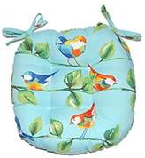 """Indoor / Outdoor Round Tufted Bistro Cushion with Ties - Richloom Solar Outdoor Sky Blue Curious Birds (16"""")"""