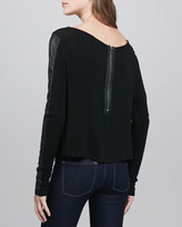 Alice + Olivia Leather-Sleeve Knit Top
