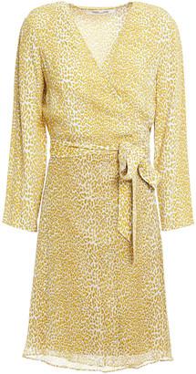 Diane von Furstenberg Leopard-print Chiffon Mini Wrap Dress