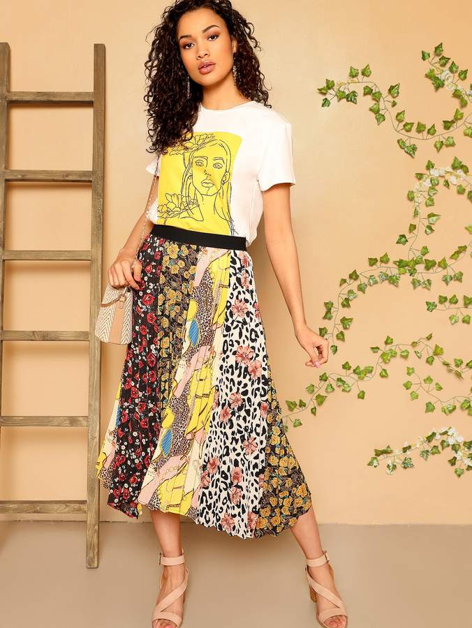 a8c7a88d6e Floral Skirt Elastic Waist - ShopStyle