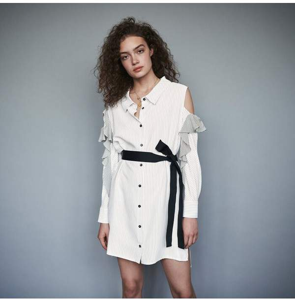 Maje Striped Ruffled Shirt Dress