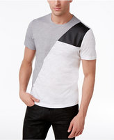 INC International Concepts Men's Colorblocked T-Shirt with Faux Leather Piecing, Created for Macy's