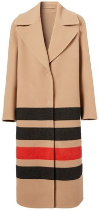 Burberry Stripe Detail Double-faced Wool Coat