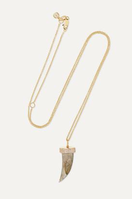 Sydney Evan Medium Horn 14-karat Gold, Labradorite And Diamond Necklace