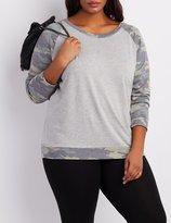 Charlotte Russe Plus Size Camo Raglan Sweatshirt