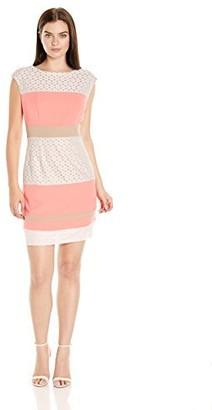 Sandra Darren Women's 1 Pc Extended Shoulder Crepe & Lace Sheath Dress