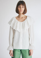 Neul Women's Lace Ruffle Shirt in White, Size 1 | 100% Cotton