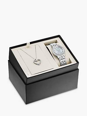 Bulova 96X144 Women's Heart Pendant Necklace and Bracelet Strap Watch Gift Set, Silver/Mother of Pearl