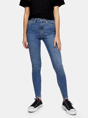 Topshop Abraided Hem Jamie Jeans - Blue