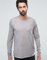 Asos Linen Mix Long Sleeve T-Shirt With Pigment Wash In Brown