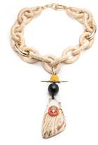 Alexis Bittar Raffia Link Necklace with Wood Grain Pendant