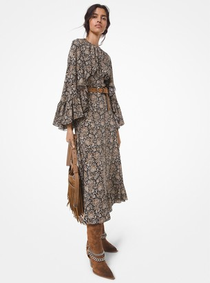 Michael Kors Collection Floral Silk Crepe de Chine Cape Dress