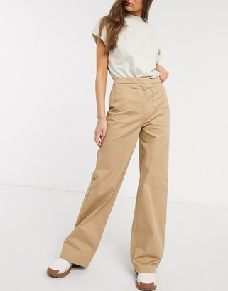 Selected high waisted wideleg trouser with front pockets