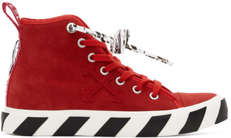 Off-White Red Suede Vulcanized Mid Top Sneakers