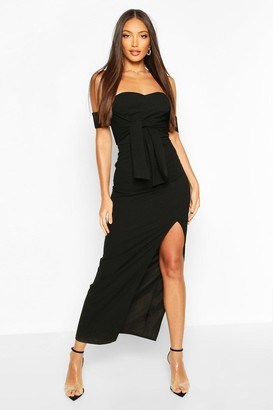 boohoo Off The Shoulder Bow Detail Split Midaxi Dress