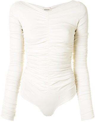 KHAITE Ruched Longsleeved Bodysuit